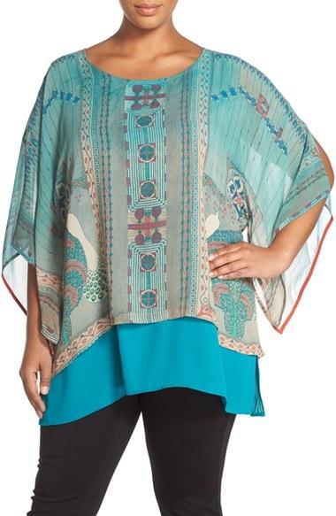 CitronPlus Size Women's Citron Print Silk Layered Tunic