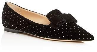 Jimmy Choo Women's Gala Embellished Velvet Pointed Toe Flats