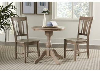 "INC International Concepts 30"" Round Top Dining Table with 2 San Remo Chairs - Washed Gray Taupe - 3 Piece Set"