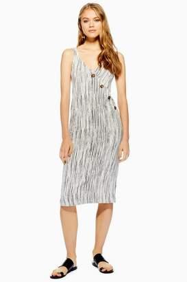 Topshop Ivory Stripe Asymmetric Button Dress