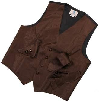 IDEA Y&G Khaki Paisley Mens Designer Tuxedo Vest Set Match Necktie Cufflinks Bowtie Hanky Set for Suit Vs1016-L Yellow
