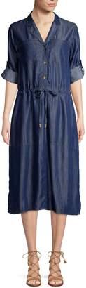 Donna Karan Roll-Tab Sleeve Button-Front Dress