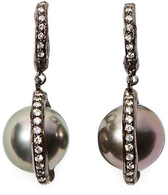Patcharavipa 'Polki Pearl' diamond 18k black gold drop earrings