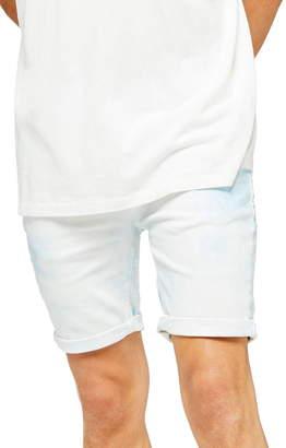 Topman Skinny Fit Acid Wash Denim Shorts
