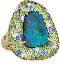 Margot McKinney Jewelry 18k Yellow Gold Opal Ring w/ Mixed Stones, Size 6.5