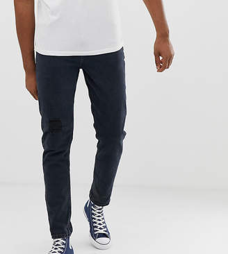 Asos DESIGN Tall Tapered Jeans In Overdyed Wash With Rips