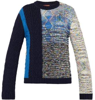 Missoni Contrast Knit Cotton Blend Sweater - Mens - Blue