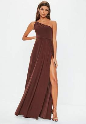 Missguided Brown One Shoulder Slinky Maxi Dress