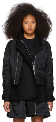 Sacai Black Melton MA-1 Jacket