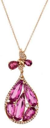 18K Pink Tourmaline & Diamond Pendant Necklace