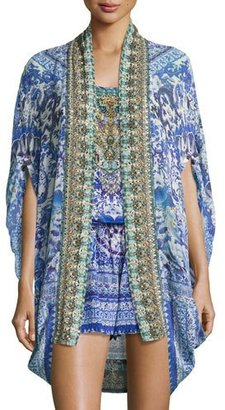 Camilla Open-Front Embellished Silk Cardigan/Cape Coverup, Guardian Of Secrets $490 thestylecure.com
