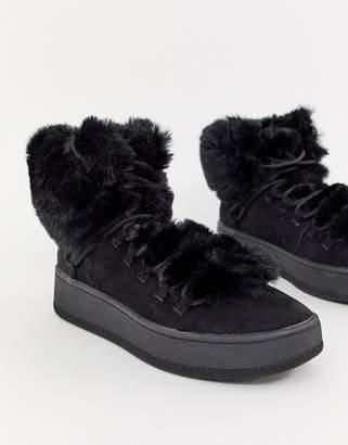 Bershka faux fur lined boot