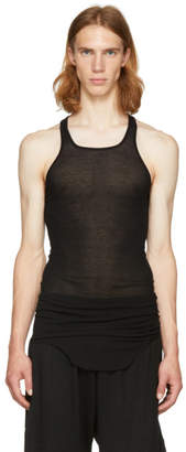 Rick Owens Black Basic Silk Rib Tank Top