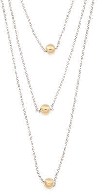 Made In Italy Sterling Silver 3 Row Sliding Ball Necklace