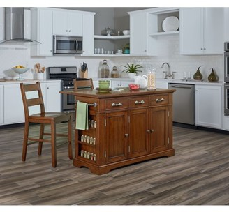 Inspired by Bassett Country Kitchen Island with Drop Leaf and 2 Stools in Vintage Oak