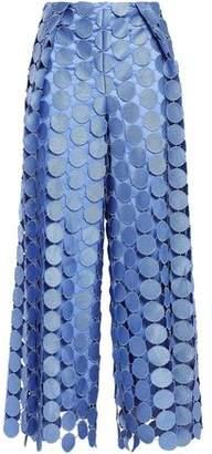 SOLACE London Cropped Paneled Guipure Lace Wide-leg Pants