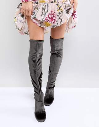 Miss Selfridge Velvet Over The Knee Boot