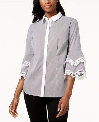 Charter Club Tiered-Sleeve Lace-Trim Shirt, Created for Macy's