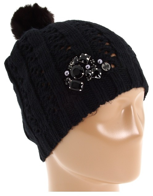 Juicy Couture Beanie with Fur Pom Pom (Black) - Hats