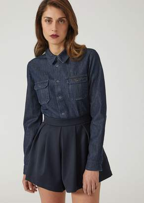 Emporio Armani Cotton Denim Shirt With Metal Eagle On The Pocket