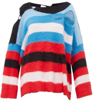 Charles Jeffrey Loverboy Distressed Intarsia Striped Sweater - Womens - Multi