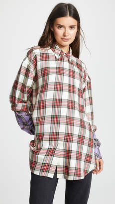 pushBUTTON Plaid Contrast Sleeve Button Down Shirt