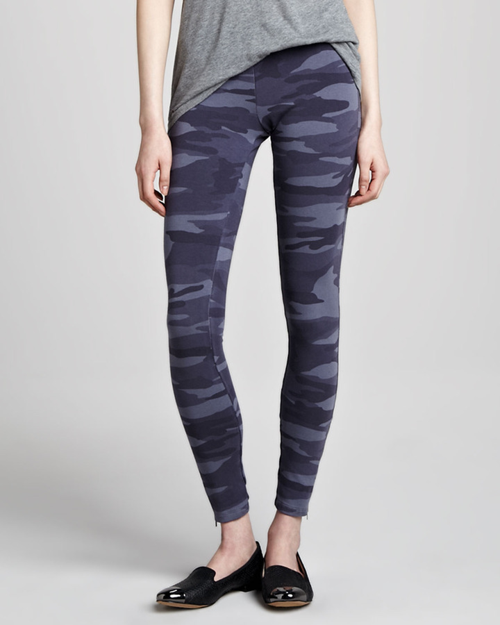 Splendid Camouflage Zipper-Cuff Leggings