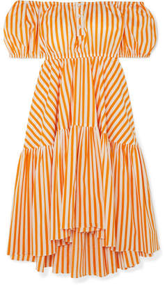 Caroline Constas Bardot Off-the-shoulder Striped Cotton-blend Midi Dress - Orange