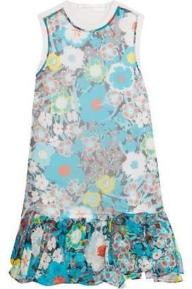 Victoria Beckham Victoria Paneled Printed Silk And Cotton Mini Dress