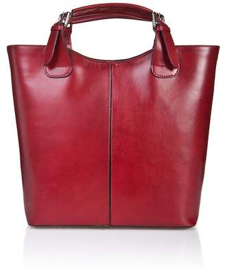 Lisa Minardi Buckle Handle Calfskin Leather Satchel