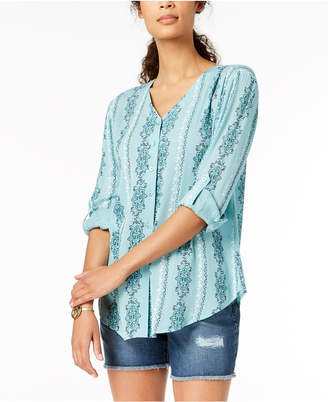 Style&Co. Style & Co Printed Roll-Tab Shirt, Created for Macy's