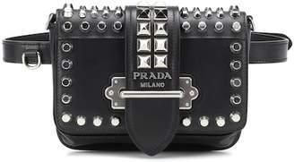 Prada Cahier studded leather belt bag