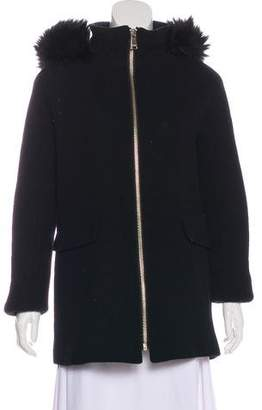 Calvin Klein Wool Faux Fur-Trimmed Short Coat