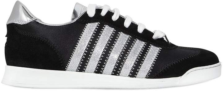 DSQUARED2 10mm Suede & Metallic Leather Sneakers