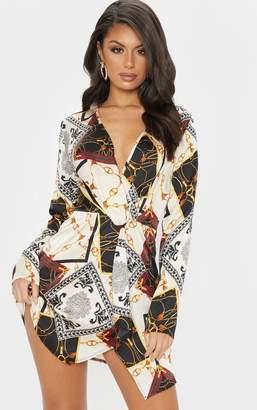 PrettyLittleThing White Chain Print Satin Long Sleeve Wrap Dress