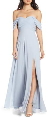 Sequin Hearts Off the Shoulder Georgette Evening Dress