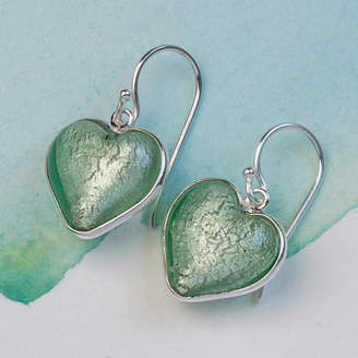 Murano Claudette Worters Heart Earrings In Silver And Glass
