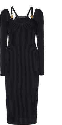 Versace Cutout Ribbed Stretch-Knit Midi Dress Size: 36