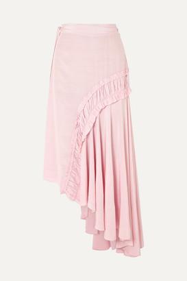 Preen Line Gracia Asymmetric Shirred Crepe De Chine Midi Skirt - Baby pink