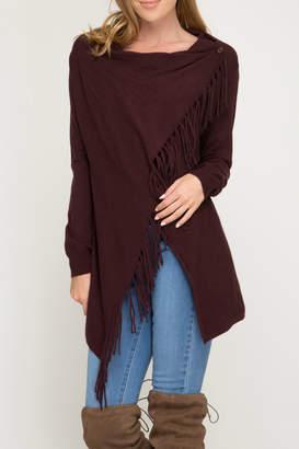 She+Sky Wrap sweater cardigan with fringe