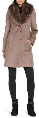 Lauren Ralph Lauren Faux Fur Collar Wool Blend Reefer Coat $330 thestylecure.com