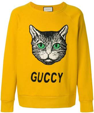 Gucci cat appliquéd sweatshirt