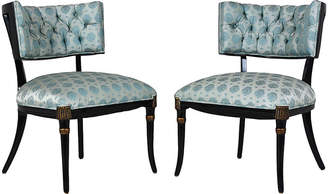One Kings Lane Vintage Mid-Century Regency-style Lounge Chairs - Castle Antiques & Design