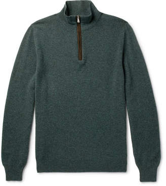 Isaia Suede Elbow-Patch Cashmere Half-Zip Sweater