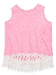 Design History Girl's Heathered Hi-Lo Lace Tank