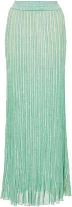 Missoni Pleated Metallic Ribbed-Knit Maxi Skirt