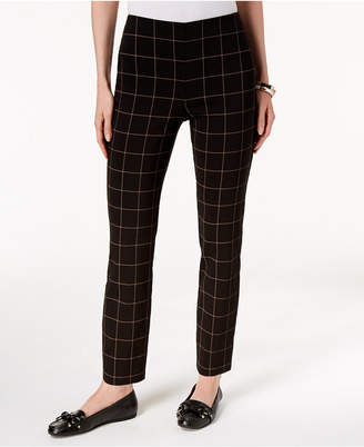 Charter Club Chelsea Plaid Tummy-Control Ankle Pants