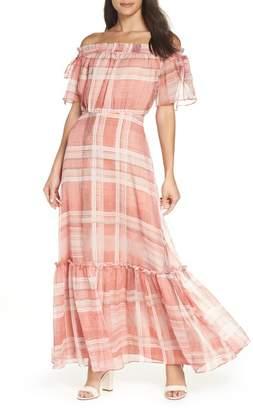 Lenon Plaid Off the Shoulder Maxi Dress