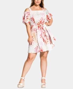 City Chic Trendy Plus Size Caribbean Cold-Shoulder Dress