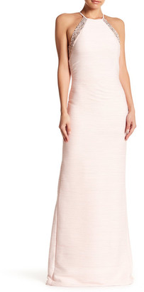 Carmen Marc Valvo Infusion Ruched Halter Gown $495 thestylecure.com